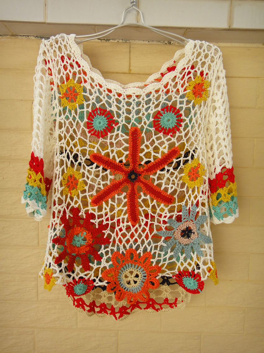 Handmade Crochet Floral Top Women Bohemian Clothing [CTW73