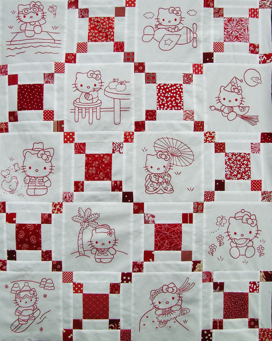 Hello Kitty Redwork Quilt Top – Q is for Quilter