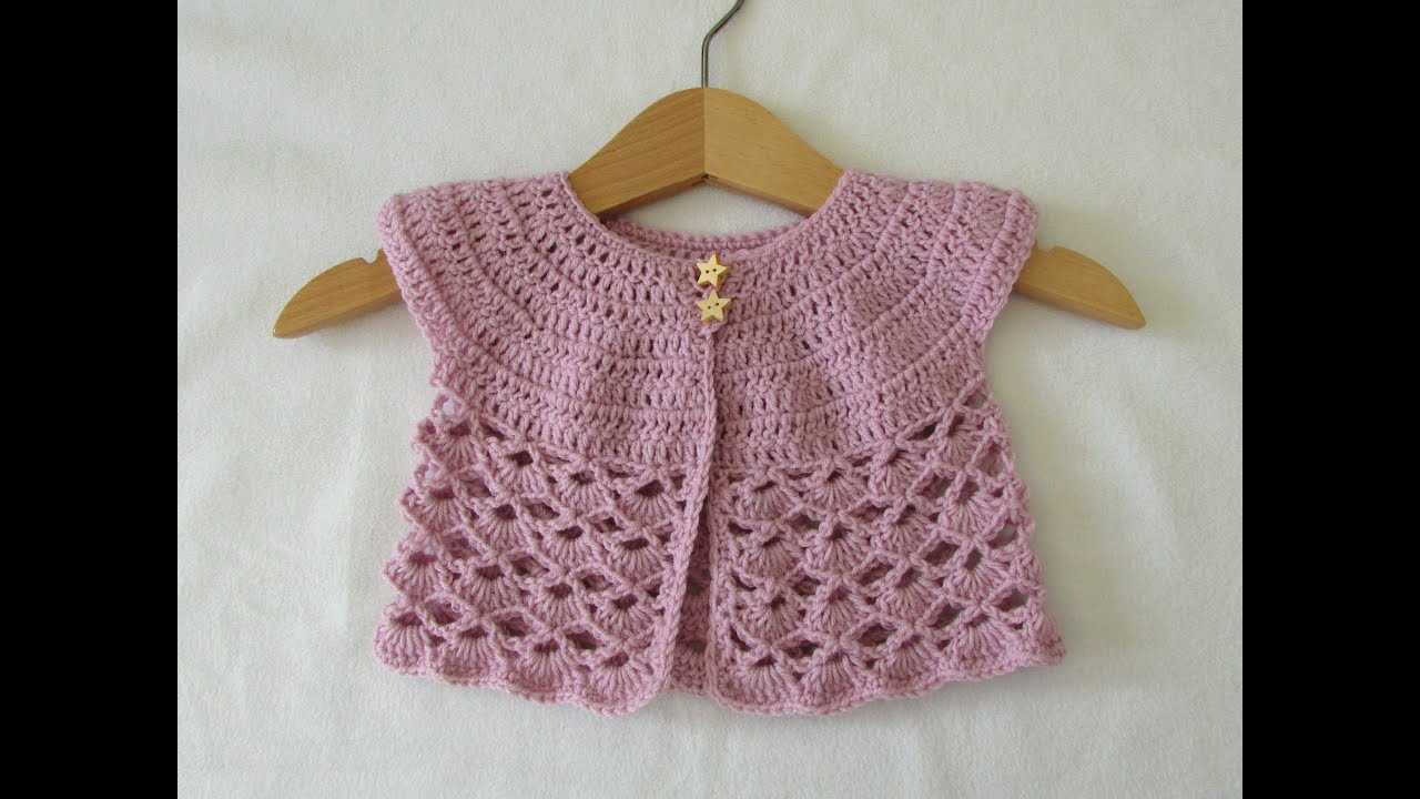 How to crochet an EASY lace baby cardigan sweater