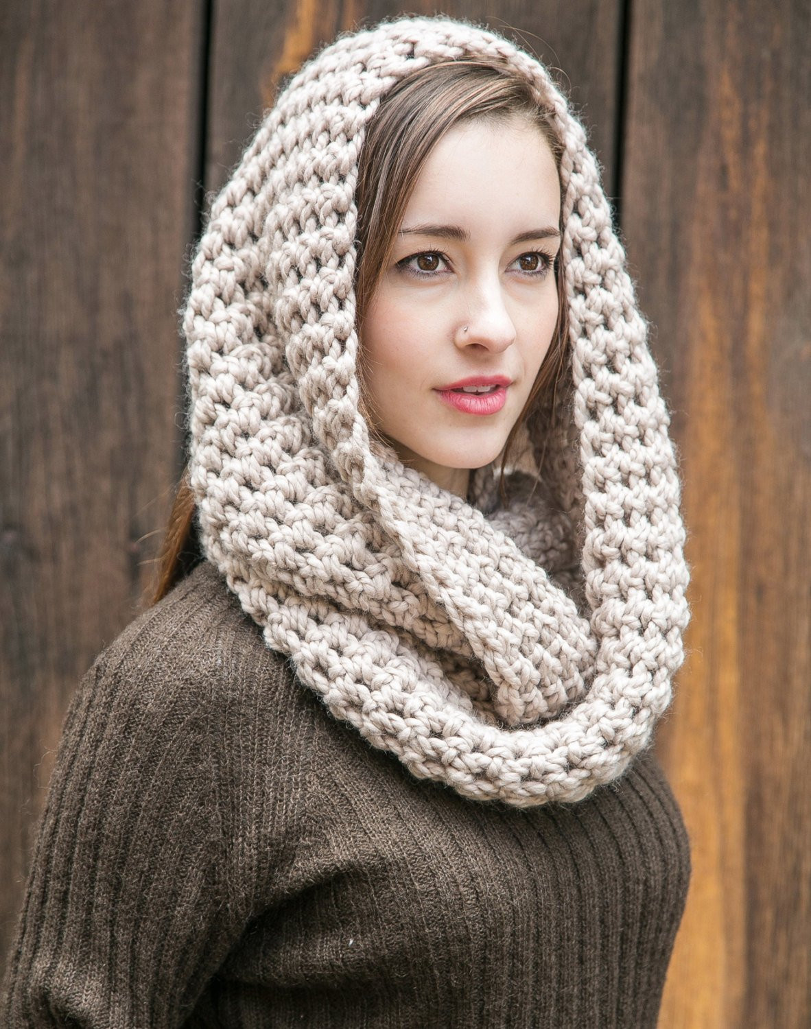 Infinity Scarf Chunky Knit Circle Scarf Wool Infinity