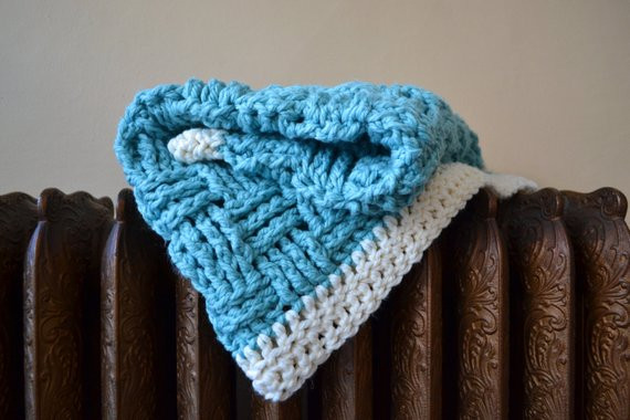 New Items Similar to Blue Crochet Baby Blanket Basket Weave Basket Weave Crochet Blanket Of Great 49 Pictures Basket Weave Crochet Blanket