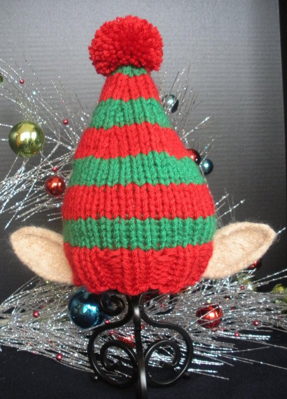 New Items Similar to Elf Knit Christmas Holiday Hat with Ears Knitted Christmas Hats Of Adorable 50 Models Knitted Christmas Hats