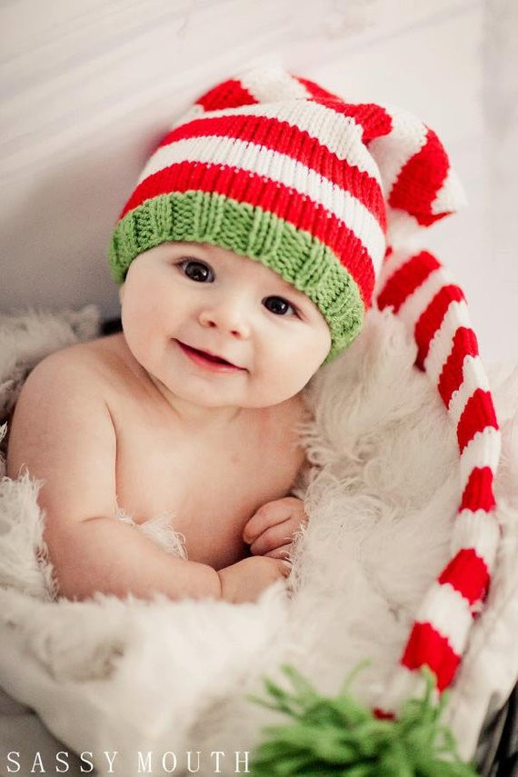 Items similar to Knit Baby Hat Christmas Long Stocking
