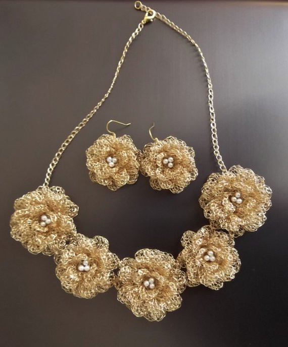 New Items Similar to Wire Crochet Jewelry Gold Flowers Brides Wire Crochet Of Wonderful 40 Photos Wire Crochet