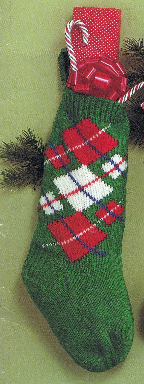New Knit Christmas Argyle Stocking Vintage Knitting Pdf Pattern Knit Stocking Pattern Of Attractive 47 Pictures Knit Stocking Pattern