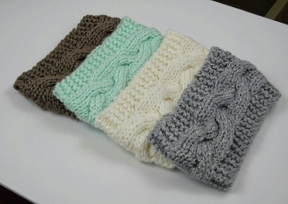 Knit Headband Cable Braided Earwarmer Crochet Head Wrap