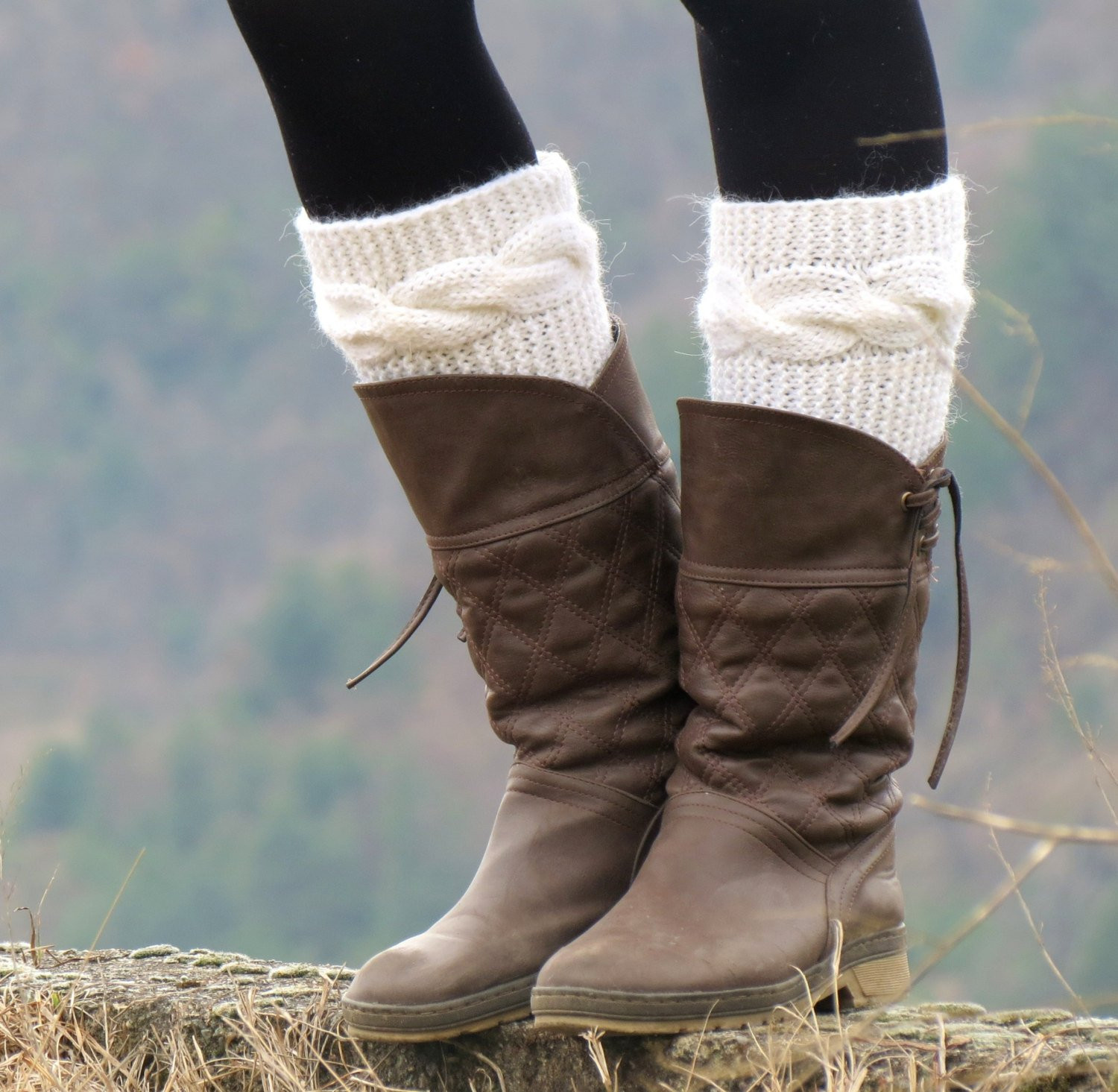 New Knitted Boot Cuff Woman Ivory Short Cable Knit Boot Cuffs Knitted Boot Cuffs Of Great 41 Photos Knitted Boot Cuffs