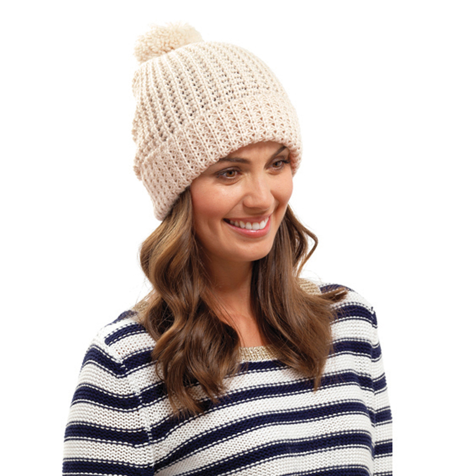 New La S Chunky Knit Hat Pom Pom Bobble Beanie Winter Ladies Knitted Hats Of Adorable 50 Pictures Ladies Knitted Hats