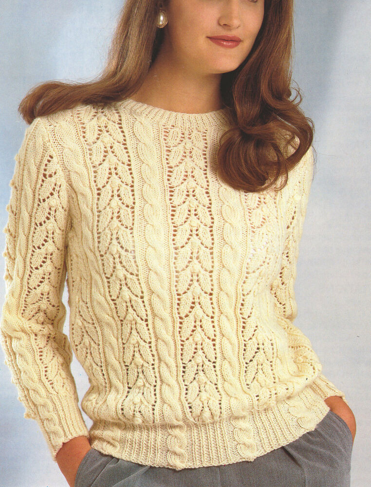 "Lace & Cable Sweater DK Wool 30"" 40"" Knitting"