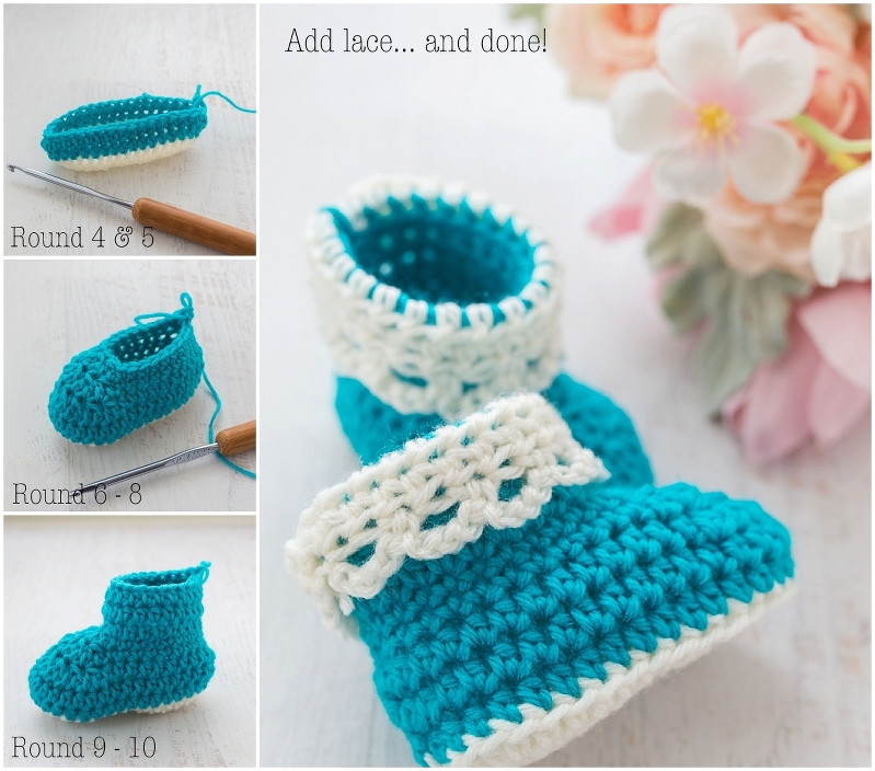 Lace Trim Baby Booties – Free Crochet Pattern Loganberry