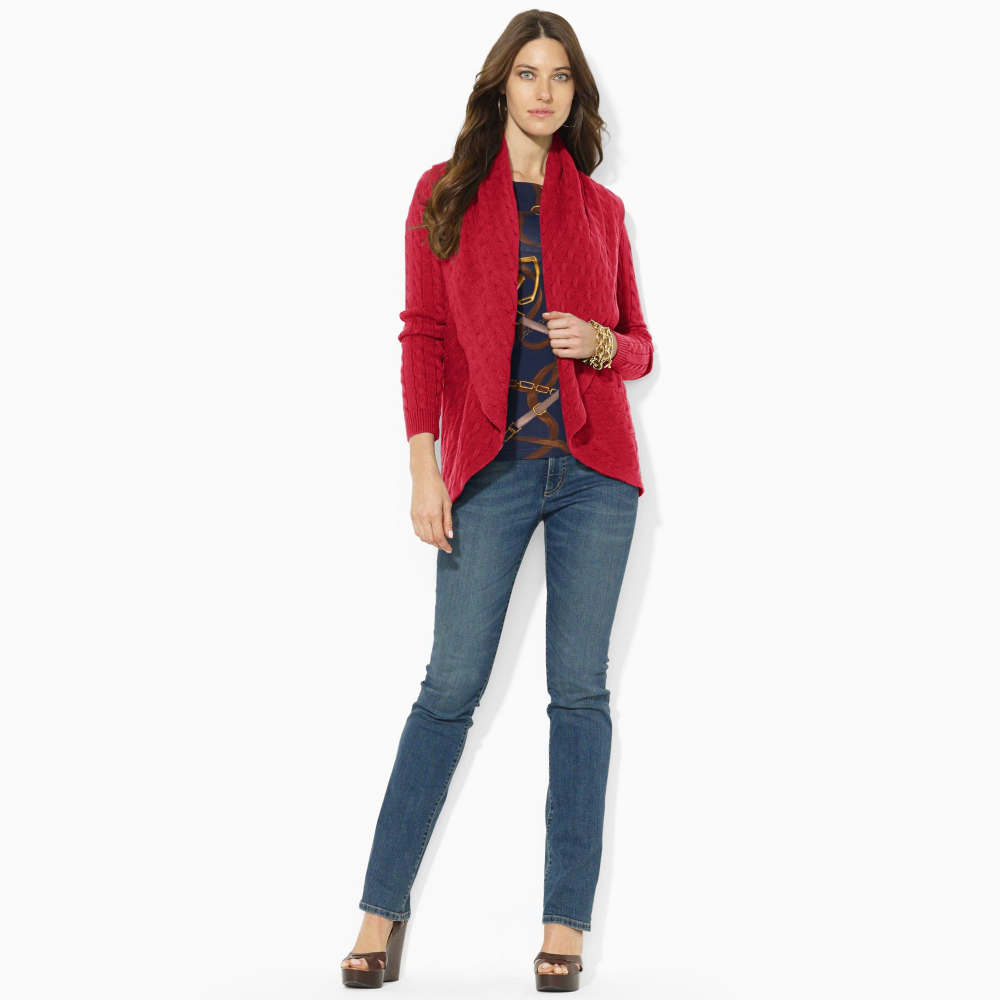 New Lauren by Ralph Lauren Cable Knit Circle Cardigan In Red Circle Cardigan Of Adorable 41 Ideas Circle Cardigan