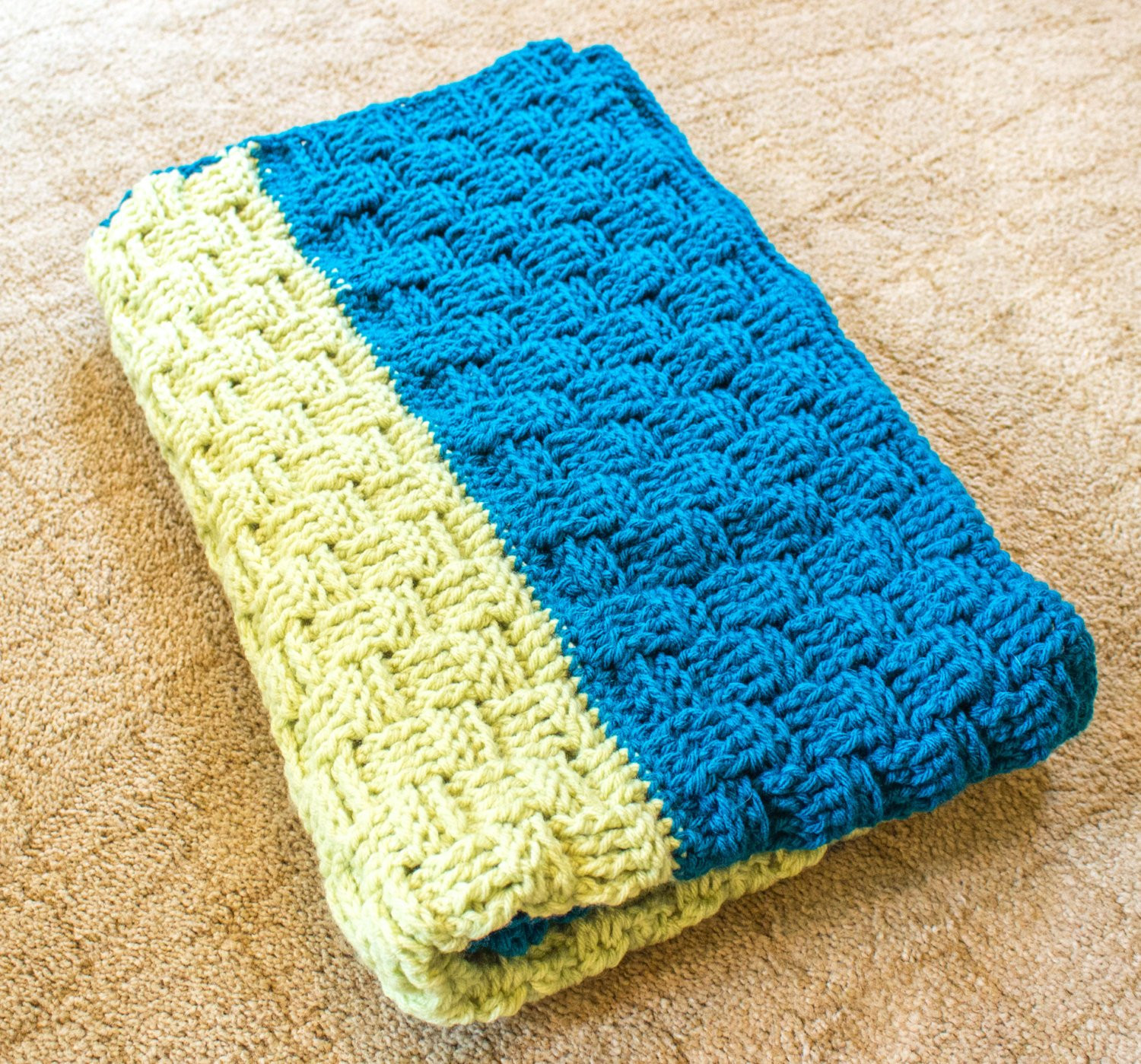 Lime and Teal Basket Weave Crochet Baby Blanket