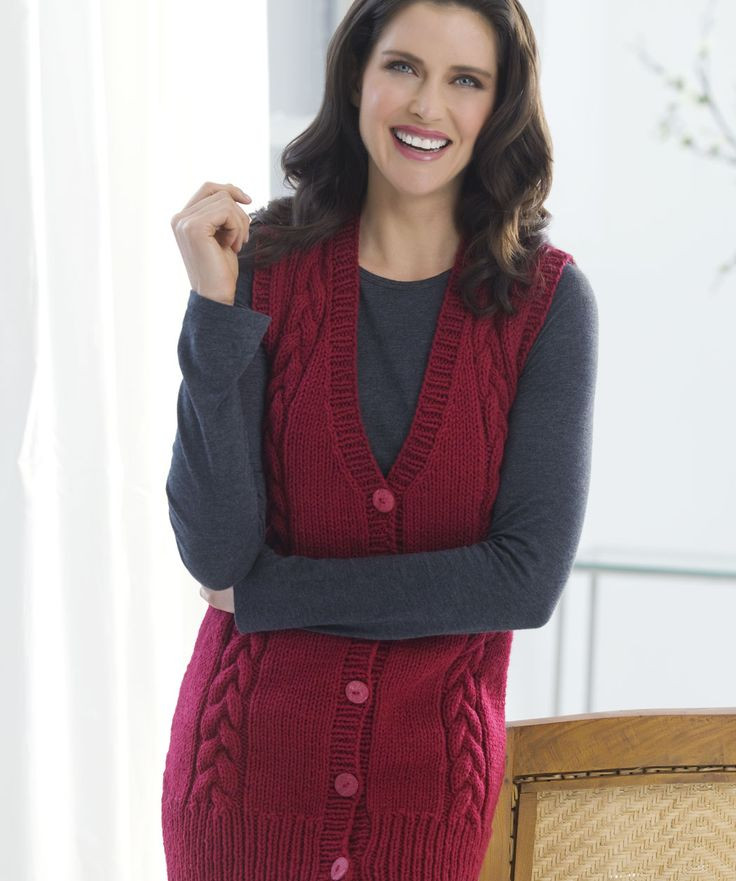 Long Cabled Vest Knitting Pinterest