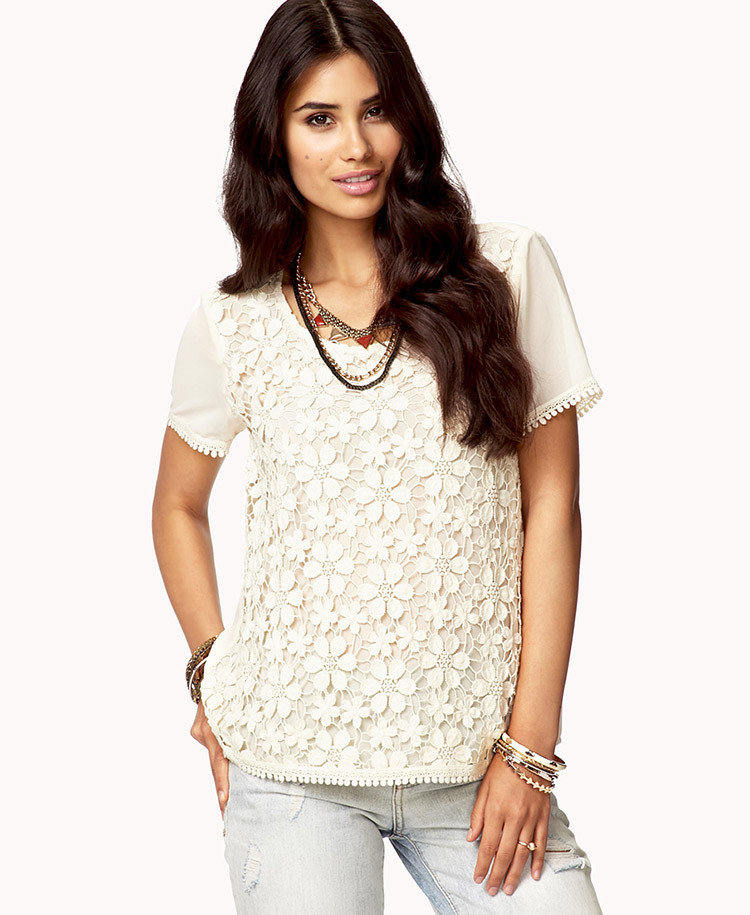 New Lyst forever 21 Floral Crochet top In Natural Crochet tops forever 21 Of Beautiful forever 21 Scalloped Crochet top In Beige Cream Crochet tops forever 21