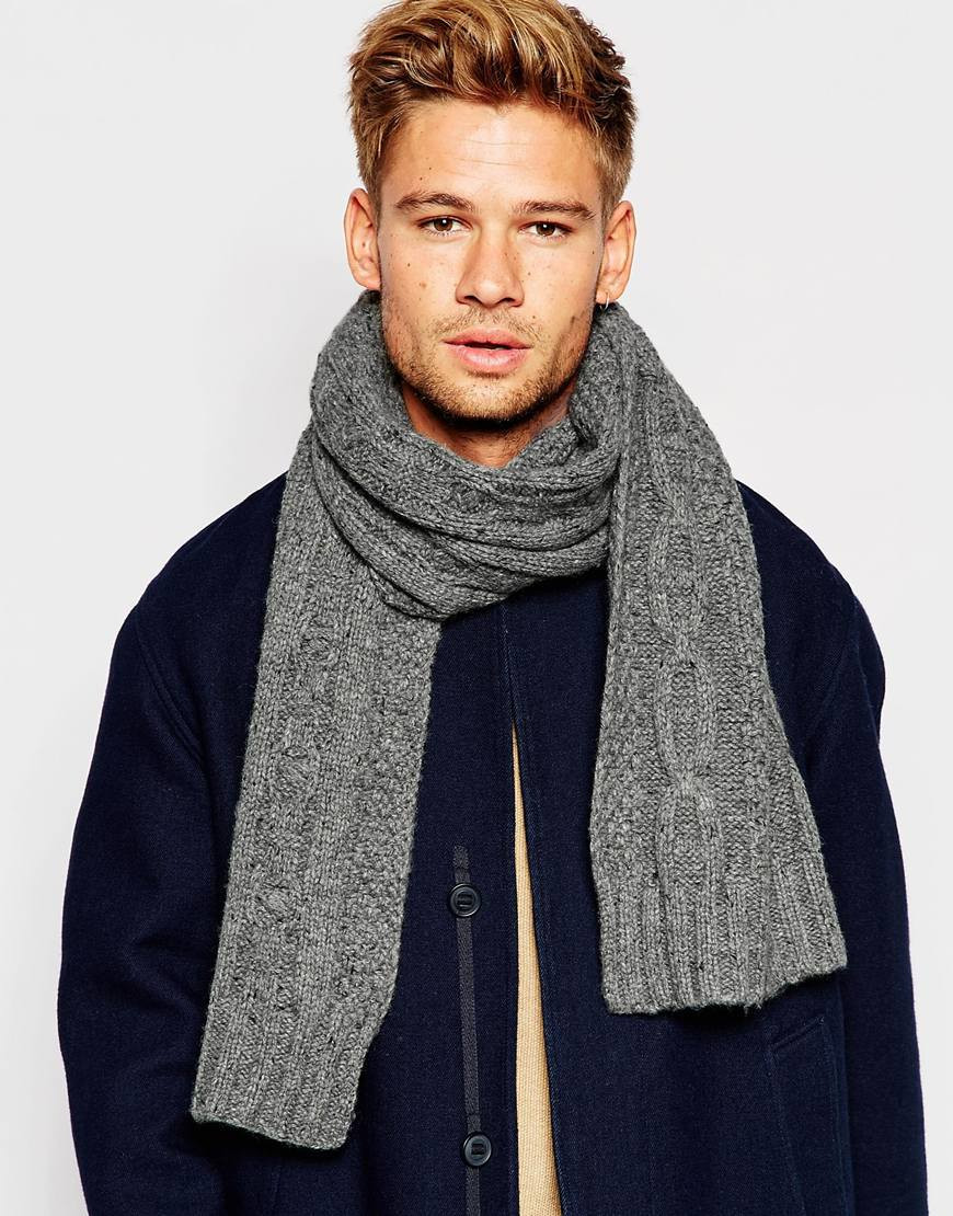 New Lyst Selected Cable Knit Scarf In Gray for Men Cable Knit Scarf Of Delightful 48 Ideas Cable Knit Scarf