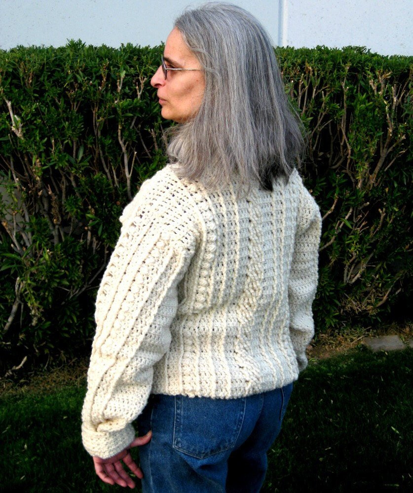 Mens Fisherman Cable Knit Sweater Pattern Gray Cardigan