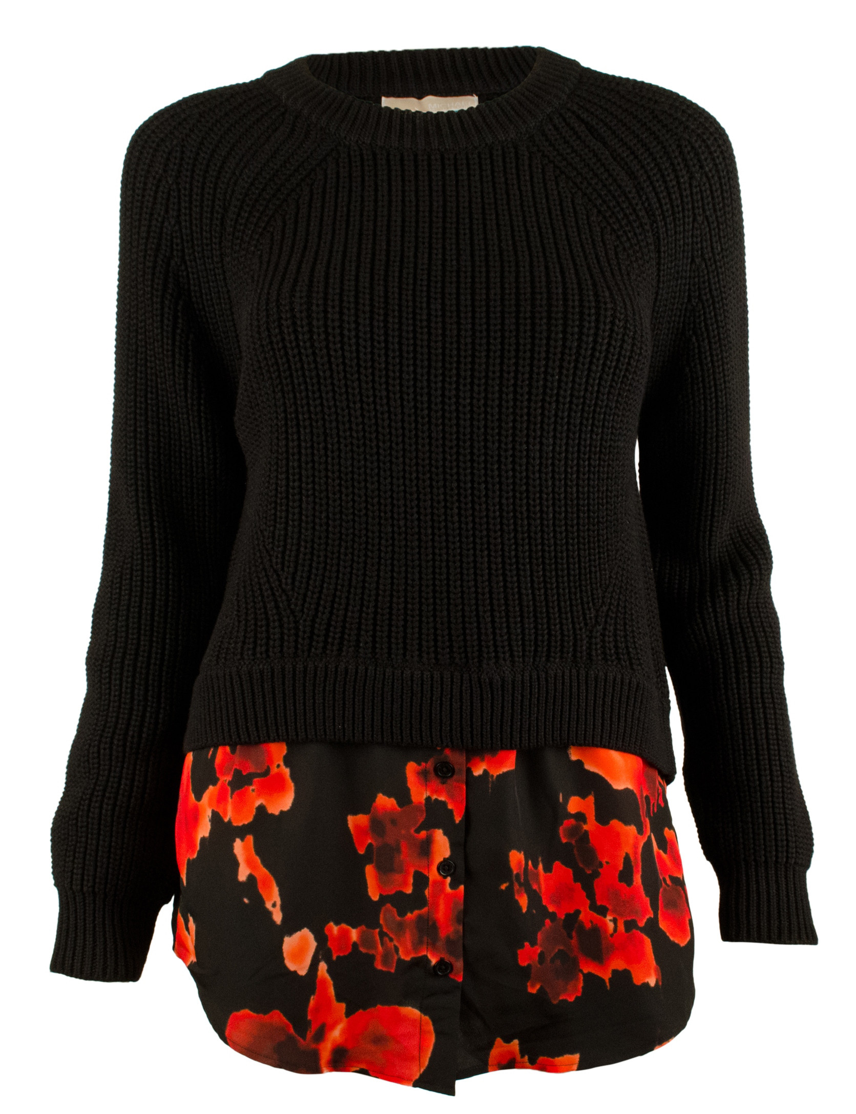 Michael Kors Women s Cropped Printed Layered Look Sweater Top
