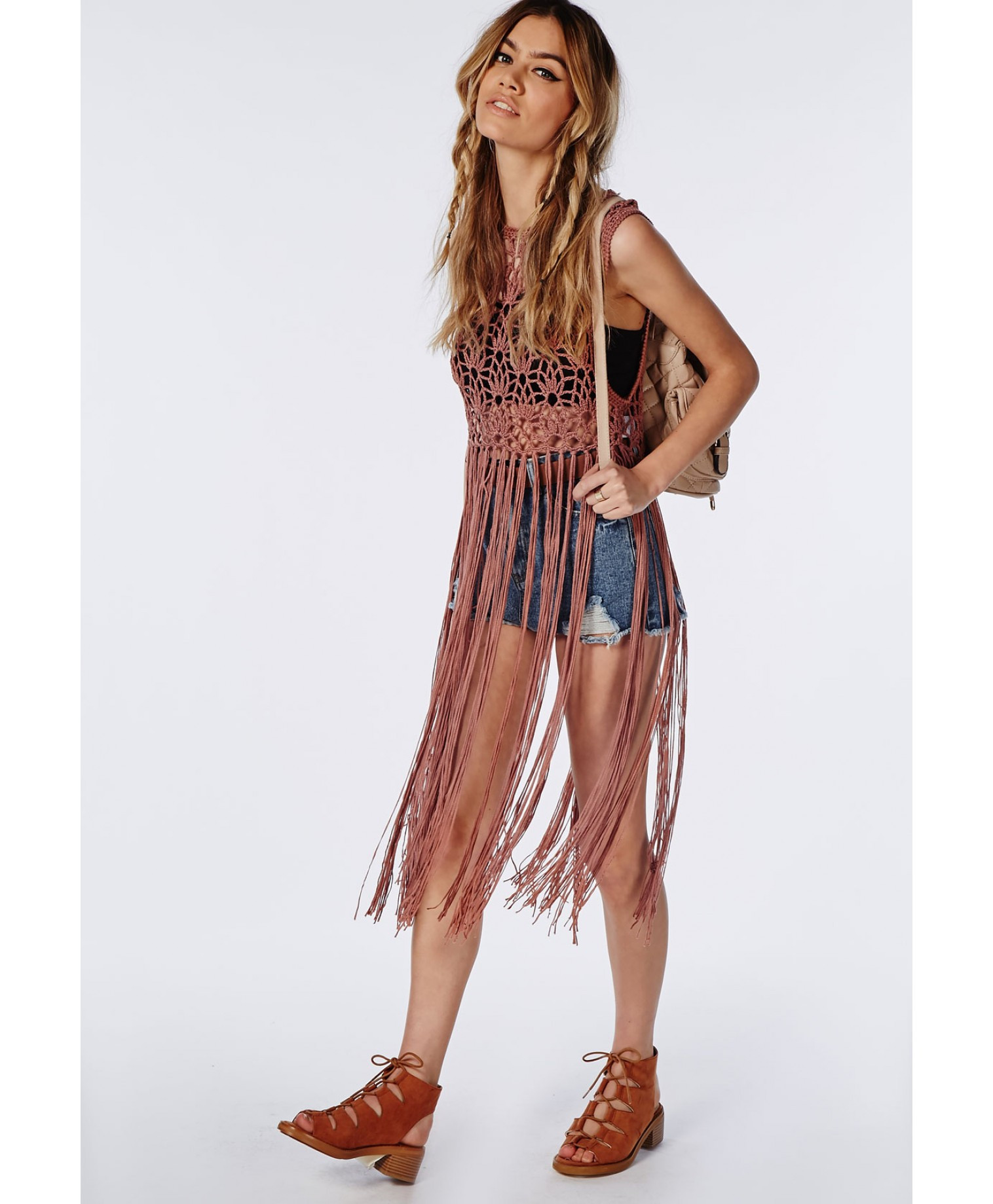 Missguided Crochet Knitted Fringe Vest Rust in Brown rust