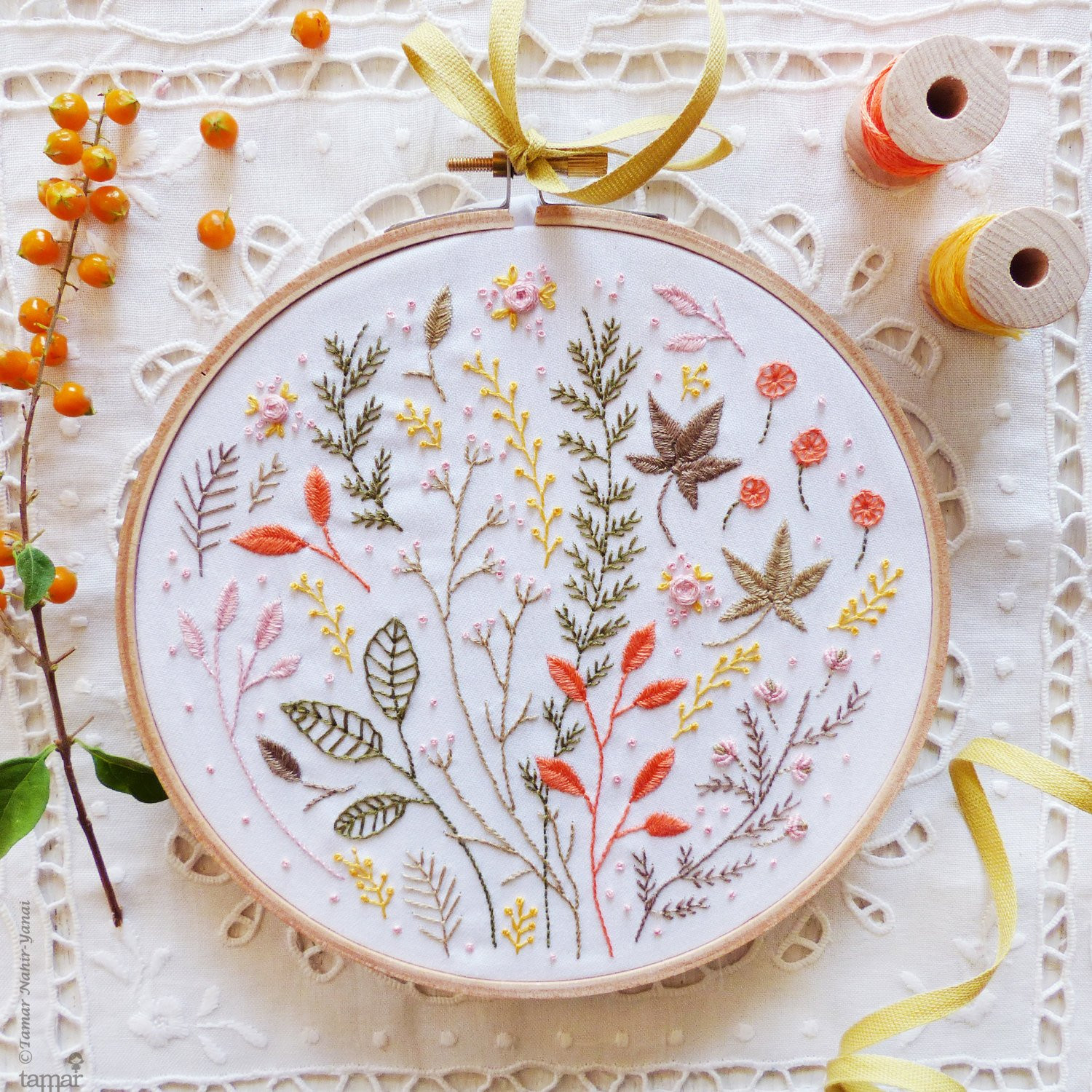 Modern hand embroidery Embroidery kit Autumn Leaves Wall