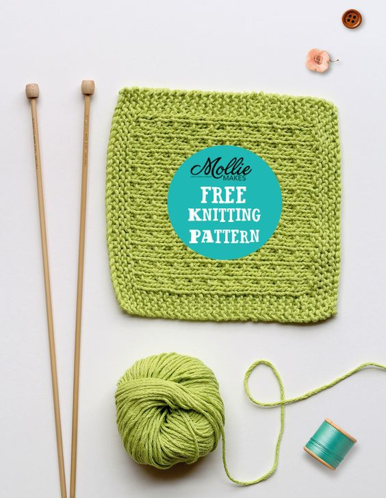 Mollie Makes free knitting pattern knitted washcloth