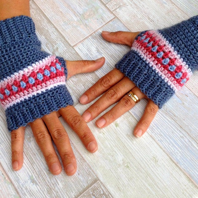 My Rose Valley Crochet Wrist Warmers Nordic style