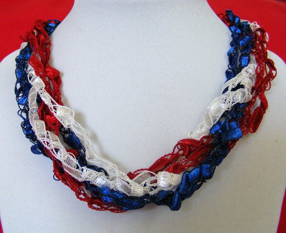 New Patriotic Red White & Blue Ladder Yarn Necklace Red White and Blue Yarn Of Awesome 48 Pictures Red White and Blue Yarn