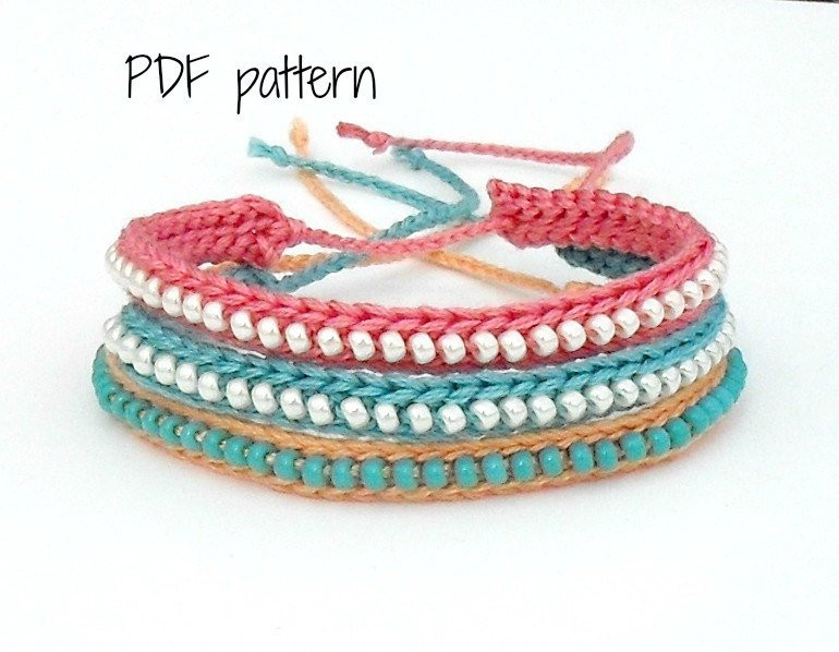 New Pdf Pattern Crocheted Beaded Friendship Bracelet Crochet Beaded Bracelet Pattern Of Brilliant 49 Images Crochet Beaded Bracelet Pattern