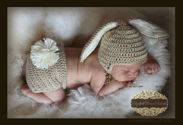 PDF PATTERN for Crocheted Baby Easter Bunny Hat and Diaper