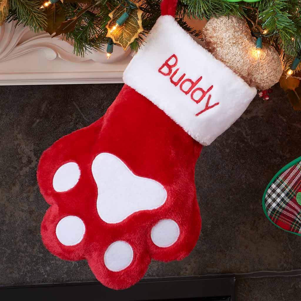 personalized red paw stocking