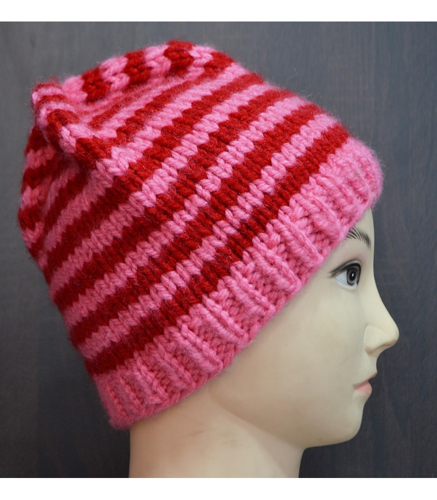 37 pink red striped knitted wool beanie crochet hat