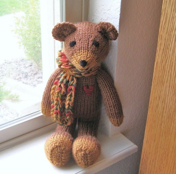 Plush Teddy Bear Hand Knitted Toy Baby Stuffed Animal by