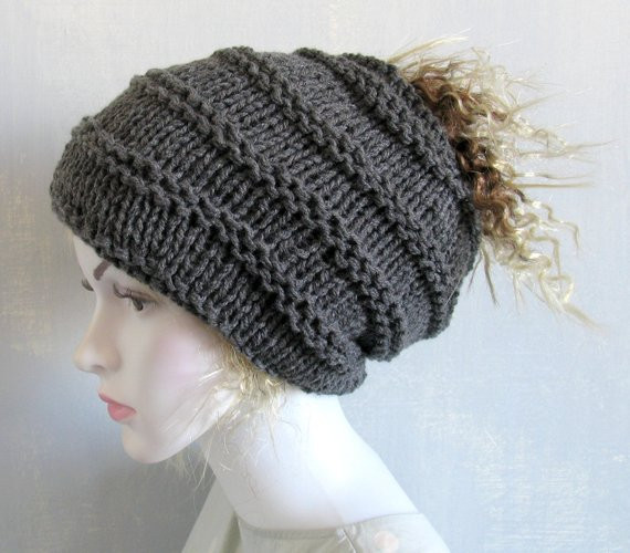 Ponytail Beanie Transformer Hat Hat with Hole Womens Hat Knit