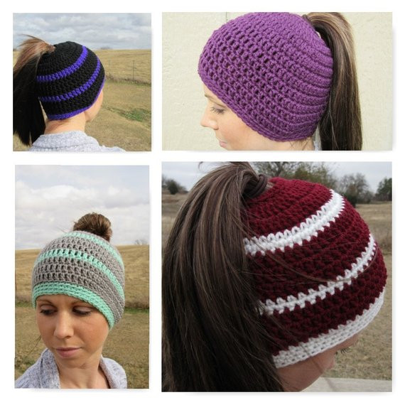 Ponytail Hat Crochet Hat Ponytail Hole by CountyRoadCrochet