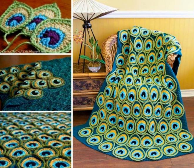 Pretty Crochet Peacock Feather Patterns Round Up