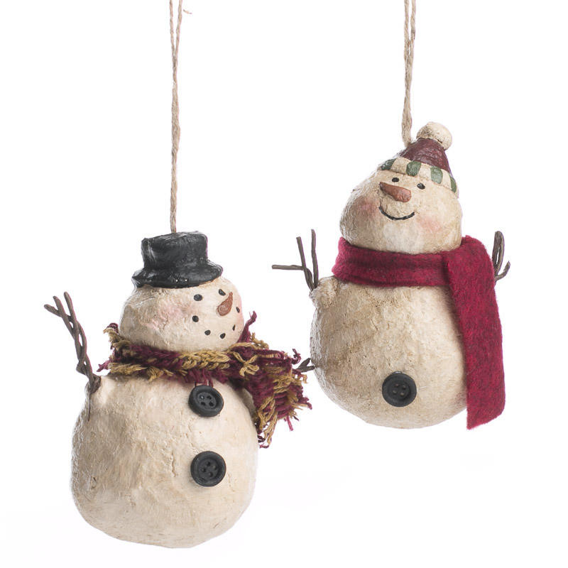 Primitive Paper Clay Snowman Ornament Christmas