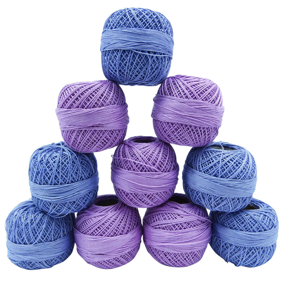 Purple Blue Crochet Cotton Thread Lot 10 Pcs Yarn