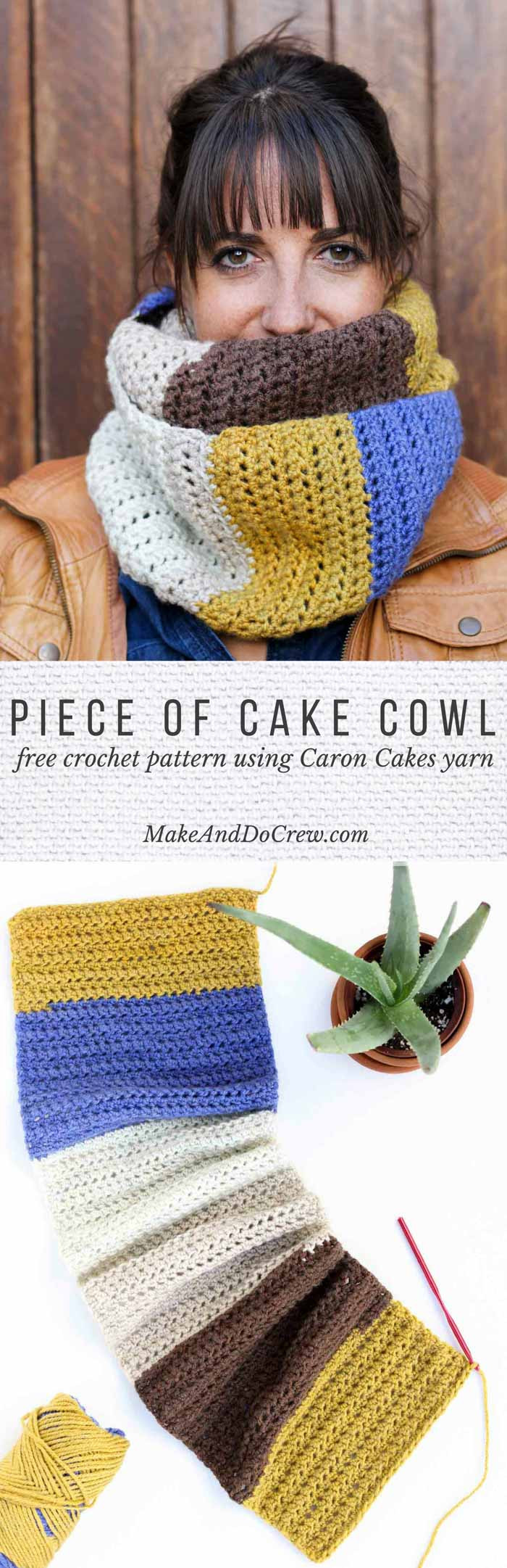 """Piece of Cake Cowl"" With Caron Cakes Yarn Free Crochet"