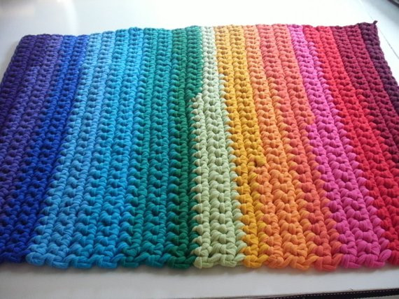 New Rainbow Crochet Rug Made From Recycled T Shirt by T Shirt Rug Crochet Of Amazing 48 Pics T Shirt Rug Crochet