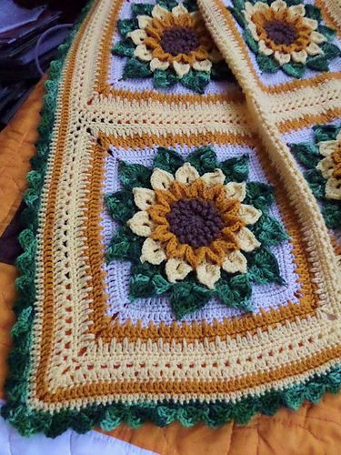 New Ravelry Ruthl S Sunflower Afghan … Sunflower Crochet Blanket Of Contemporary 48 Ideas Sunflower Crochet Blanket