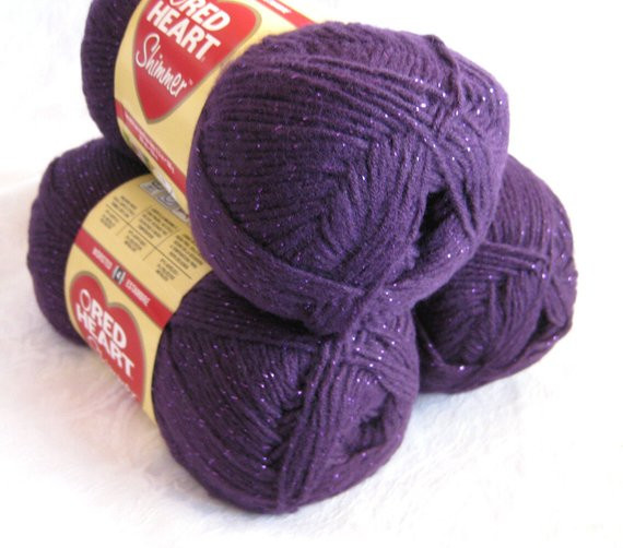 New Red Heart Shimmer Yarn Plum Purple Yarn Worsted by Crochetgal Red Heart Sparkle Yarn Of Top 49 Pics Red Heart Sparkle Yarn