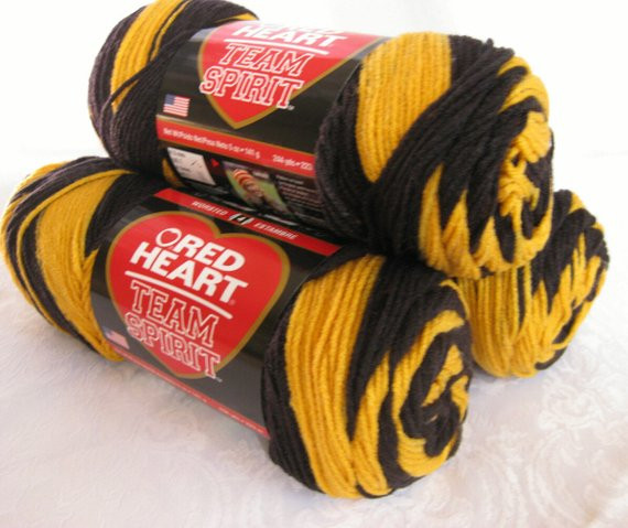 New Red Heart Super Saver Team Spirit Yarn Gold Black by Team Colors Yarn Of Top 44 Photos Team Colors Yarn