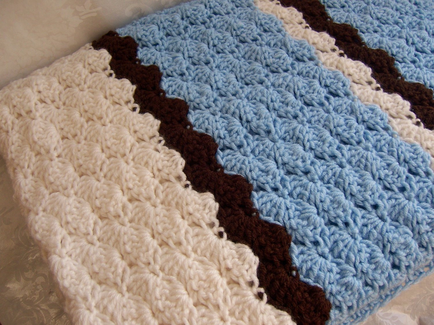 New Sale Crochet Baby Blanket Shell Pattern In Baby Blue Shell Stitch Baby Blanket Of Brilliant 49 Images Shell Stitch Baby Blanket