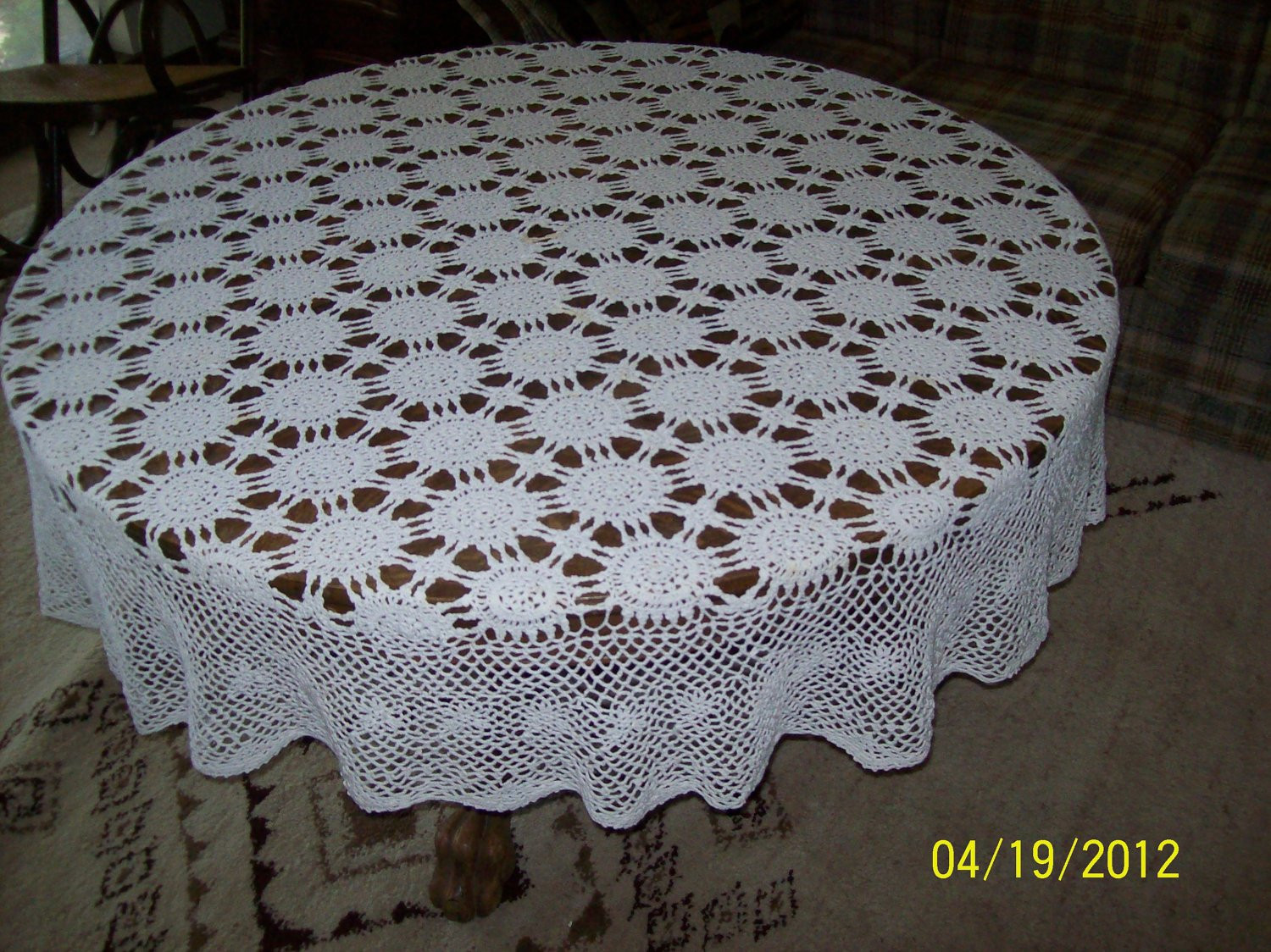 SALE PRICE Hand Crocheted Vintage Round Tablecloth by