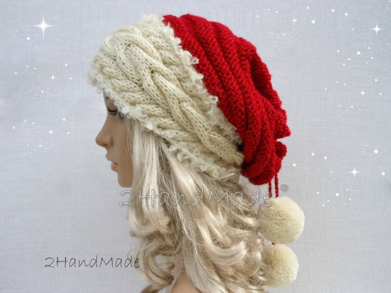 Santa Hat Adult Uni Cable Knit Oversized Beret by 2HandMade