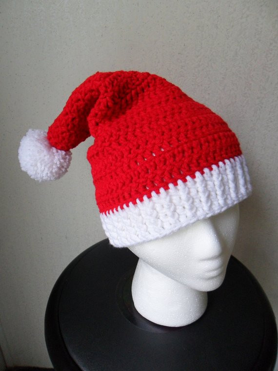 Santa Hat Christmas Beanie Red and White