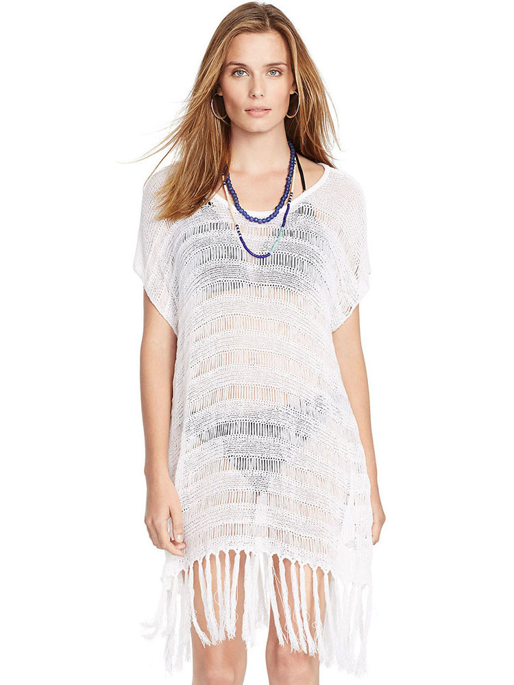Short Sleeves Crochet y Swim Cover ups with Fringed