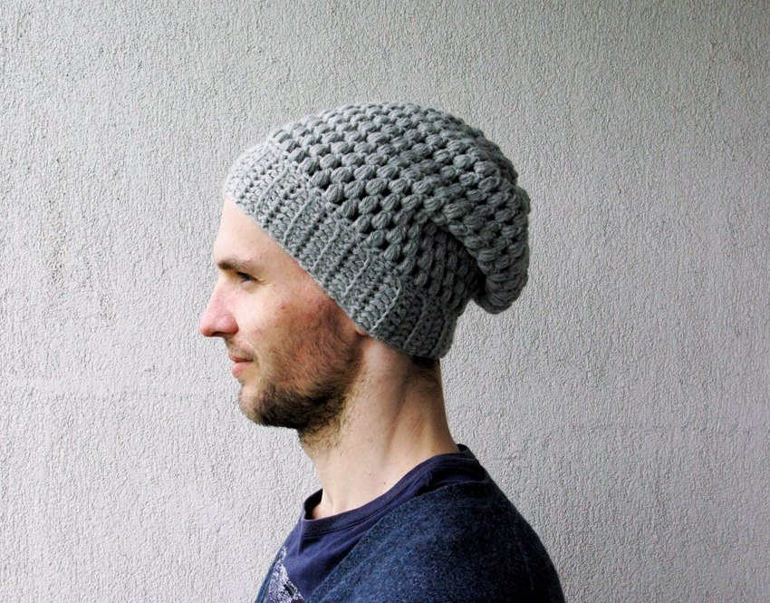 Slouchy Beanie Hipster Hat Mens Slouch Hat Uni Crochet