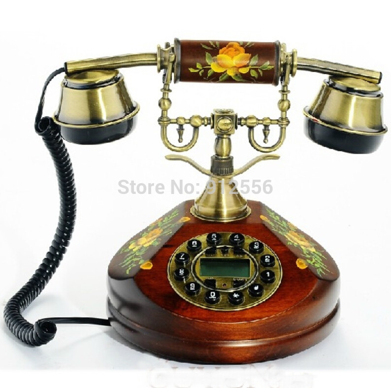 Solid Wood Vintage Phones Corded House Phone Wooden