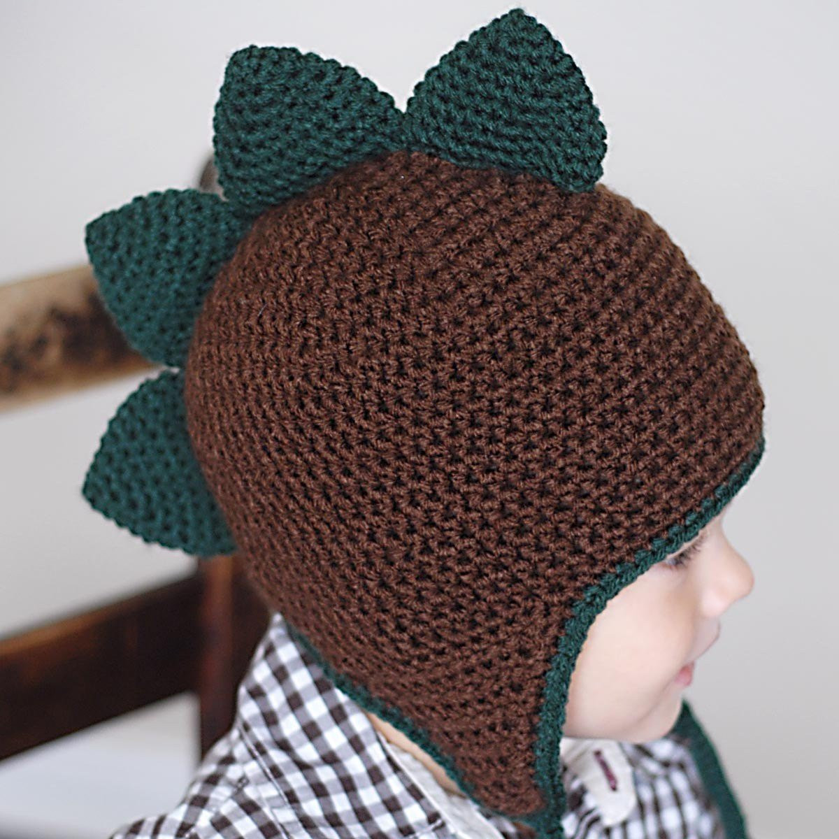 Spiky Dino Earflap Hat Crochet Pattern Permission to sell all