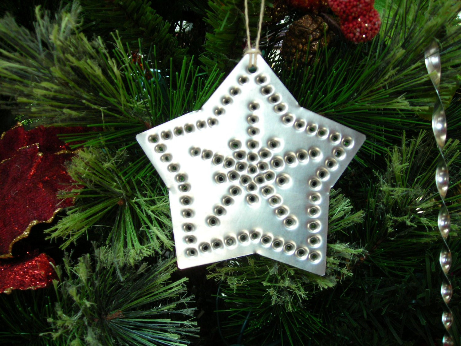 Star Tin Ornament Old Fashioned Silver Tin Punch Metal Hand